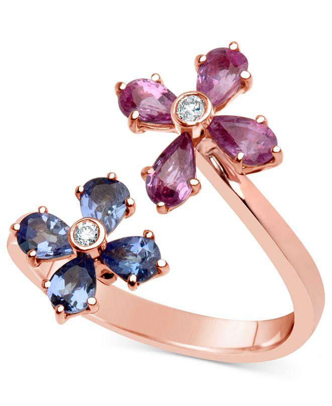 Macy's Multi-Gemstone (1-3/4 ct. t.w.) & Diamond Accent Flower Ring in 14k Rose Gold