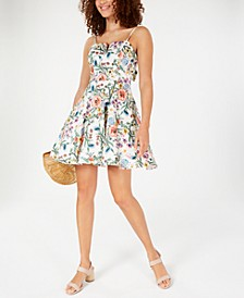Juniors' Floral Bow-Back Dress