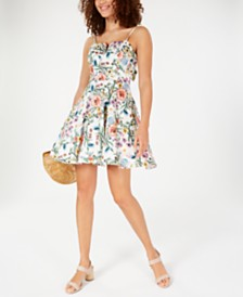 Trixxi Juniors' Floral Bow-Back Dress