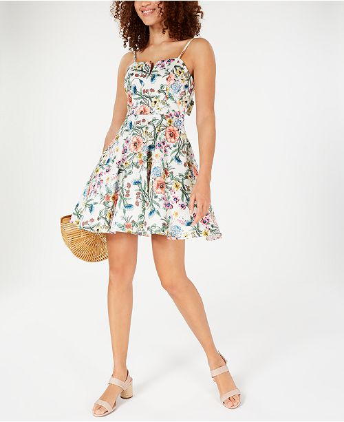 Trixxi Juniors' Floral Bow-Back Dress