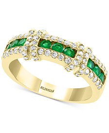 EFFY® Emerald (3/8 ct. t.w.) & Diamond (3/8 ct. t.w.) Statement Ring in 14k Gold