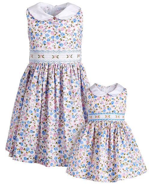 Bonnie Jean Sisters Embroidered Smocked Waist Dresses