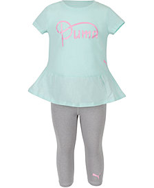 Puma Toddler Girls 2-Pc. Peplum Logo T-Shirt & Capri Leggings Set