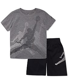 5b179b4962b42 Jordan Little Boys 2-Pc. Jumbo Splice Cotton T-Shirt   Shorts Set