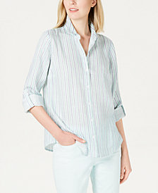 Charter Club Striped Linen Button-Up Top, Created for Macy's
