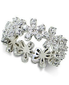 Cubic Zirconia Flower Band in Sterling Silver, Created for Macy's