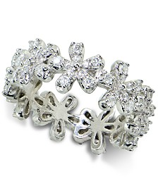 Giani Bernini Cubic Zirconia Flower Band in Sterling Silver, Created for Macy's