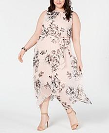 Plus Size Handkerchief-Hem Midi Dress