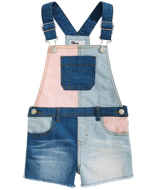 Epic Threads Little Girls Colorblocked Shortalls, Created for Macy's