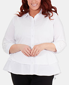 NY Collection Plus Size Lace-Trimmed High-Low Peplum Blouse