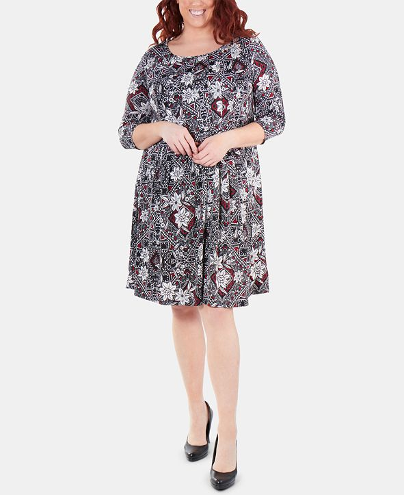 NY Collection Plus Size Printed Box-Pleated Dress