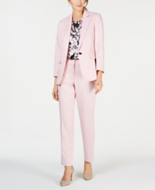Kasper One-Button Peak-Lapel Herringbone Jacket, Printed Sleeveless Top & Herringbone Pants