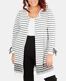 NY Collection Plus Size Striped Cotton Tie-Sleeve Cardigan Sweater