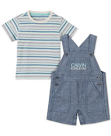 Calvin Klein Baby Boys 2-Pc. Striped T-Shirt & Chambray Shortall Set