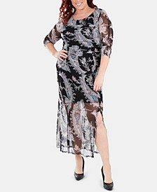 Plus Size Printed Double-Slit Maxi Dress