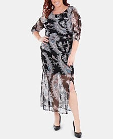 NY Collection Plus Size Printed Double-Slit Maxi Dress