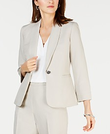 Kasper One-Button Shawl-Collar Blazer