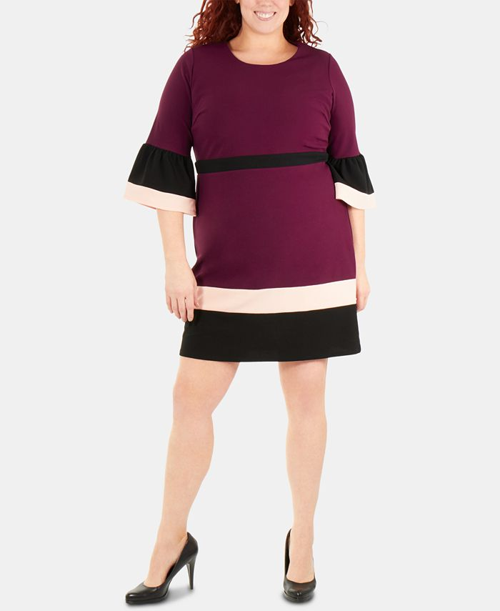 NY Collection - Plus Size Bell-Sleeve Colorblocked Sheath Dress