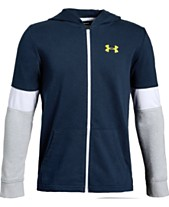 c70e19b49 Under Armour Big Boys Rival Terry Zip-Up Colorblocked Hoodie