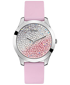GUESS Women's Pink Silicone Strap Watch 42mm