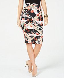 Thalia Sodi Floral-Print Scuba Skirt, Created for Macy's