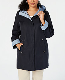 Jones New York Plus Size Hooded A-Line Raincoat