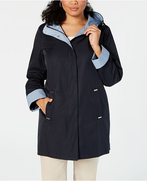 de1ee499749 Jones New York Plus Size Hooded A-Line Raincoat   Reviews - Coats ...