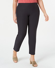 Eileen Fisher Plus Size Slim Washable Crepe Ankle Pants