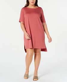 Eileen Fisher Plus Size Elbow-Sleeve High-Low Tencel ™ Dress