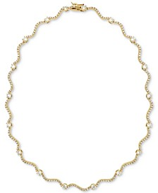 """Cubic Zirconia Wavy Link 17"""" Collar Necklace in 18k Gold-Plated Sterling Silver, Created for Macy's"""