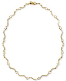 "Giani Bernini Cubic Zirconia Wavy Link 17"" Collar Necklace in 18k Gold-Plated Sterling Silver, Created for Macy's"