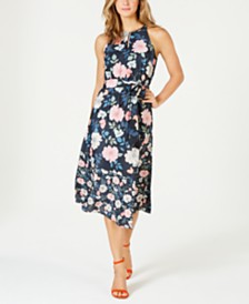 Vince Camuto Floral-Print Keyhole Fit & Flare Dress