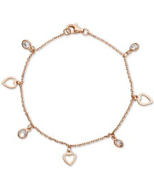 Cubic Zirconia Heart Charm Bracelet in 18k Rose Gold-Plated Sterling Silver