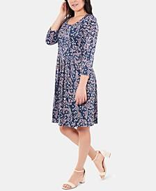 3/4-Sleeve Box-Pleat Dress