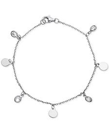 Cubic Zirconia & Dangle Disc Charm Bracelet in Sterling Silver