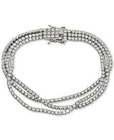 Giani Bernini Cubic Zirconia Triple Row Tennis Bracelet in Sterling Silver, Created for Macy's