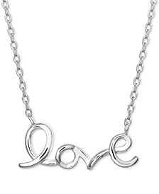"Love Script Pendant Necklace in Sterling Silver, 16"" + 2"" extender"