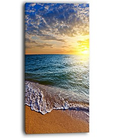 "Designart Layers Of Colors On Sunrise Beach Seascape Canvas Art Print - 16"" X 32"""
