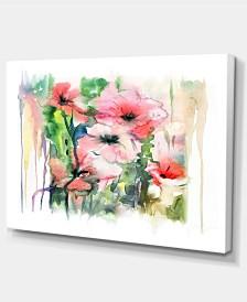 "Designart Pink Floral Watercolor Illustration Large Animal Canvas Art Print - 32"" X 16"""