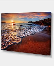 "Designart Stunning Ocean Beach At Sunset Seashore Canvas Art Print - 32"" X 16"""