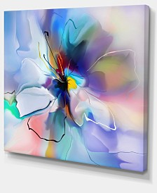 """Designart Abstract Creative Blue Flower Extra Large Floral Wall Art - 20"""" X 12"""""""
