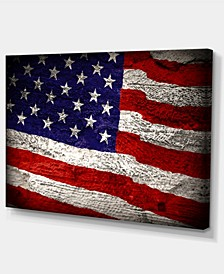 "Designart Large American Flag Watercolor Abstract Canvas Artwork - 32"" X 16"""