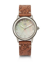 Frye Ladies' Sabrina Filigree Embossed Leather Strap in Saddle