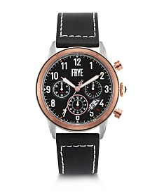 Frye Mens' Graham Chronograph Black Leather Strap Watch