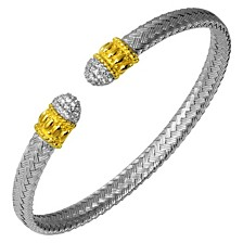 Cubic Zirconia Pave Braided Cuff in Sterling Silver