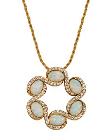 18K Gold over Sterling Silver with Open Circle Lab Created Opal and Cubic Zirconia Necklace