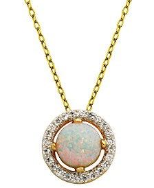 "18K Gold over Sterling Silver with Lab Created Opal and Cubic Zirconia Round Pendant with 18"" Chain"