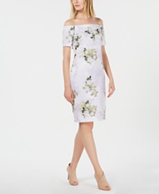 Calvin Klein Off-The-Shoulder Floral Scuba Sheath Dress