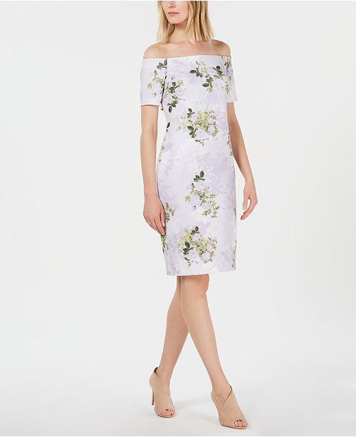 Calvin Klein Off-The-Shoulder Floral Scuba Sheath Dress