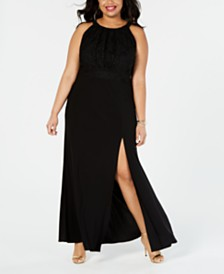 Morgan & Company Plus Size Pleated-Bodice Gown